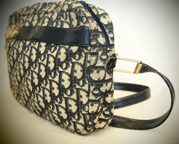 Vintage, Leather, Dior, Blue, White, Print, Fabric, Purse, Shoulder, Strap, Gold, Accents, Authentic, Genuine, Real, Classic, Timeless