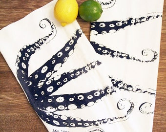 Set of 2 Towels - Navy OCTOPUS Tentacles - Multi-Purpose Flour Sack Kitchen or Bar - Renewable Natural Cotton