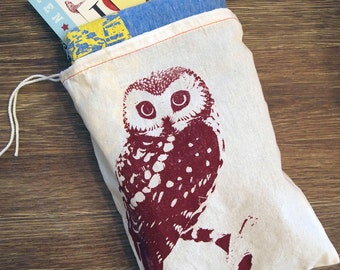 "GIFT BAG 8x11"" Urban OWL - Hand Printed Drawstring Reusable Cotton Bag"