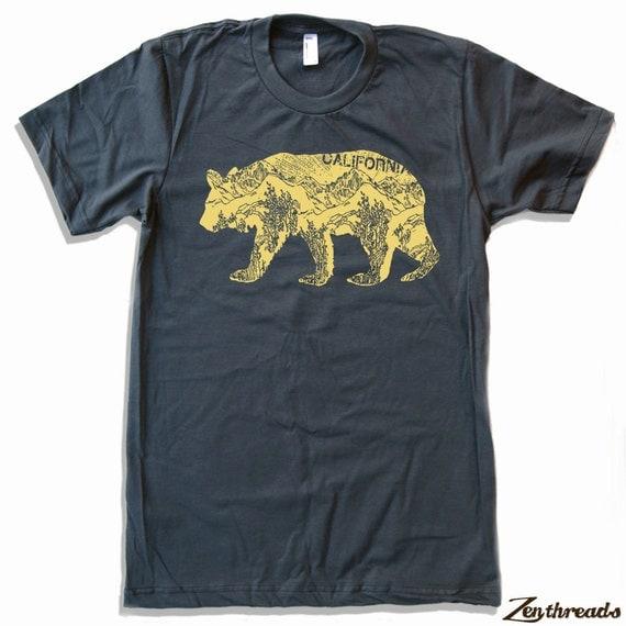 Mens California Bear T Shirt S M L Xl Xxl Color By Zenthreads