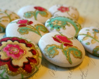 LAST SETS - Buttons - Whimsical Flowers Fabric-Covered Buttons - Metallic Gold Fabric Buttons - Bright Flowers Covered Buttons