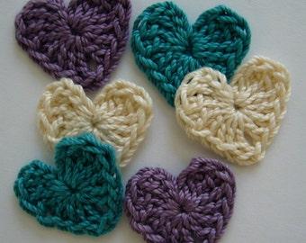 Crocheted Hearts - Plum, Teal and Ecru - Cotton Appliques - Heart Appliques - Heart Embellishments - Set of 6