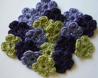 Crocheted Flowers - Green, Lilac and Purple - Wool Flowers - Forget Me Nots - Crocheted Appliques - Crocheted Embellishments - Set of 6