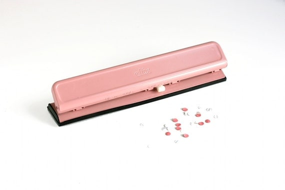 Vintage Pink Three Hole Punch by Clix