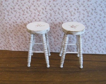 Dollhouse   stools, two,  distressed white with rose bouquets,  Twelfth scale dollhouse miniature