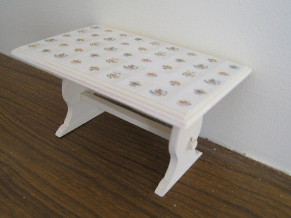 Trestle  table , tiled top. Twelfh scale dollhouse miniature