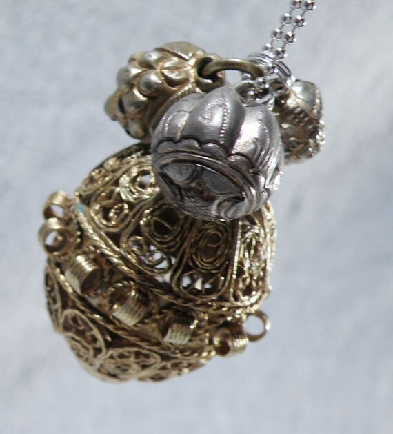 Necklace Sterling Silver Chain with ANTIQUE CHINESE BELLS and Filigree Pendant