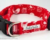 Dog Collar: Red and White Christmas Dog Collar