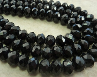 8x5mm Faceted Opaque Jet Black Chinese Crystal Rondelle Beads 8 Inch Strand (BW217)