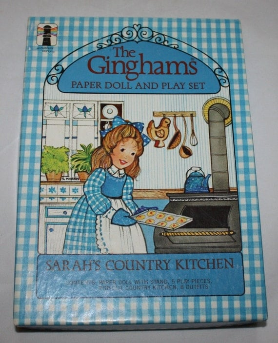 Vintagte Paper Dolls, The Ginghams, Sarah's Country Kitchen, Unused and Uncut on the Box