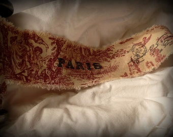 Very Vintage Inspired Distressed Red Toile Handmade Ribbon with French Accents