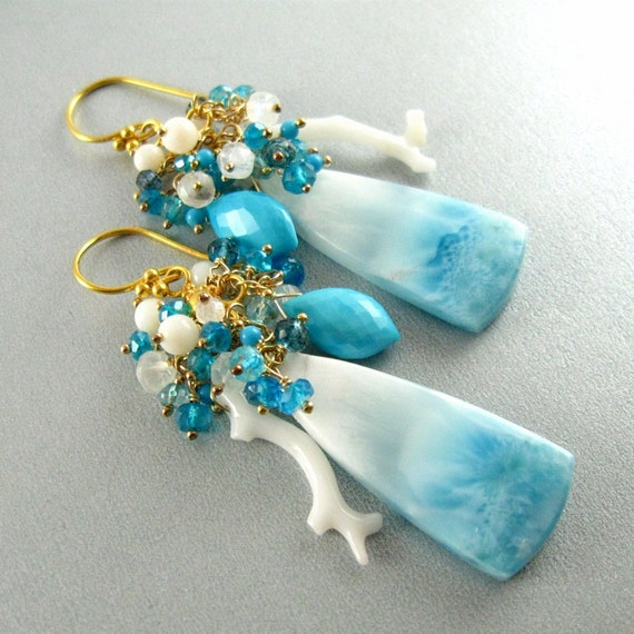 Reserved- Larimar, White Coral, and Sleeping Beauty Turquoise Cluster Earrings
