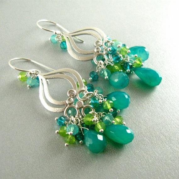 Peacock Green Chalcedony Drop Chandelier Earrings by ...