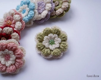 Kawaii Flower Corsage Brooch White x Green
