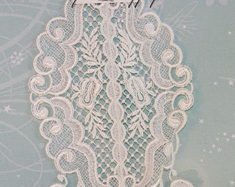 Beautiful Large White Lace Vintage Applique Inset Piece - Bridal, Wedding, Ornate Victorian (1)