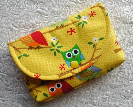 Large Snap Pouch ...Ten Little Things Owls in Yellow