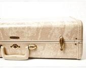 RESERVED Vintage Mid Century Ivory and Tan Marble Samsonite Suitcase, Luggage, vestiesteam