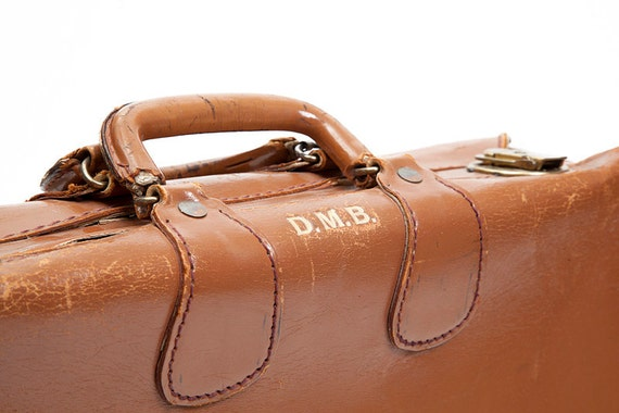 RESERVED Vintage Brown Leather Suitcase, luggage