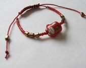 Japanese Maneki Neko Bracelet, Porcelain Bead, Czech Beads