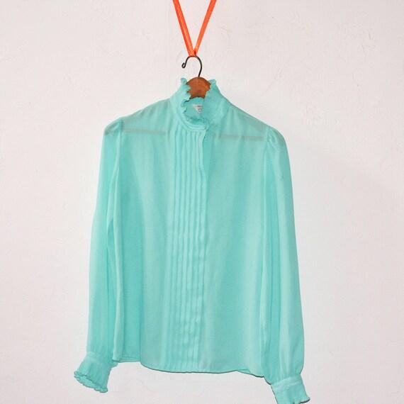 Aqua Blouse - S/M - Vintage Sheer Long Sleeved Ruffle Shirt