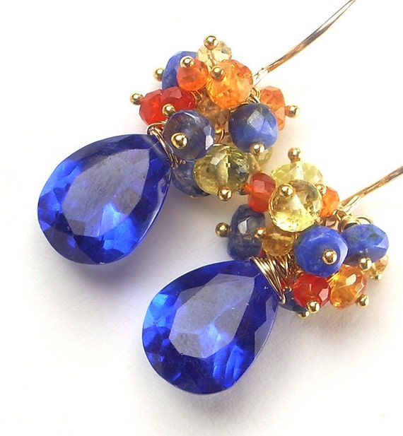 Colorful Blue Earrings Multicolor Gemstone Cluster Wire Wrapped 14kt Gold Fill Summer Fashion Earrings