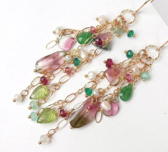 RESERVED  Afghan Watermelon Tourmaline Earring, Wire Wrap Gemstones, Tourmaline Long Dangle Earrings, Gemstone Dangle Earrings