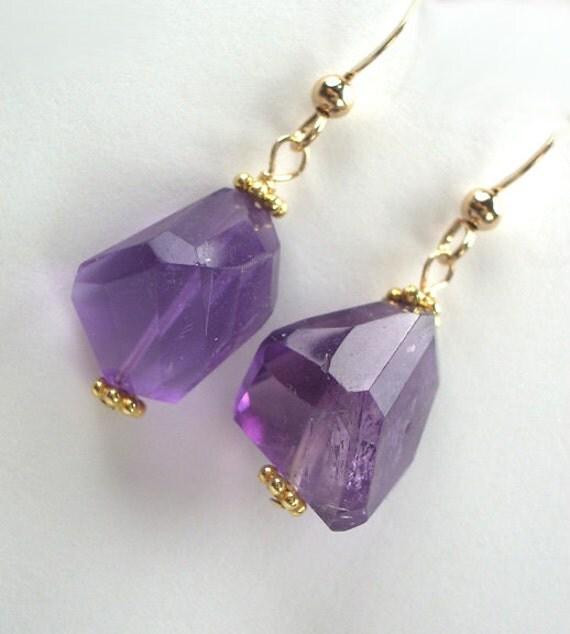 Amethyst Earrings Nugget Chunky Earrings Wire Wrapped 14kt Gold Fill Dangle Earrings
