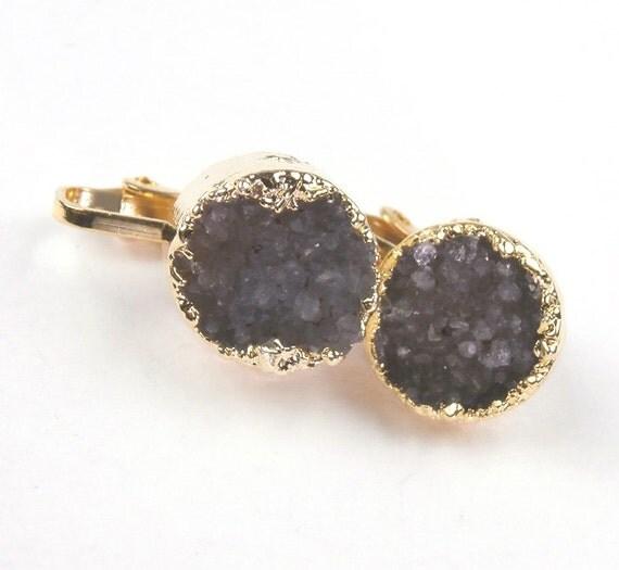 Gold Clip On Druzy Earrings Grey Greige Jasper Druzy Petite Post Coin Earrings Fall Fashion - Jeanette
