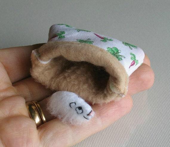 Guinea pig felt plush in baby carrot print snuggle bag play set