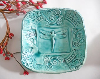 Ceramic Dragonfly Bowl w feet - Teal Aqua Turquoise - Handmade Pottery