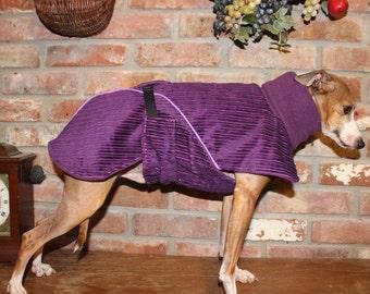 "FREE US SHIPPING Italian Greyhound Grape corduroy Dog Coat Fleece. Size 16"" (#00035)Italian Greyhound, Chinese Crested, Min Pin, Small Dog"