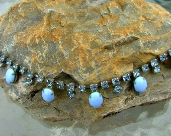 Vintage Pale Blue Rhinestones and Stones Necklace Costume Jewelry