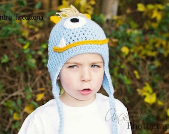 Crochet Monster Hat with Ear Flaps/THE MONSTER Hat  / Choice of Size / Ready to Ship