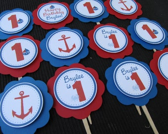 Boy Birthday Decorations, Nautical Birthday Decorations, Birthday Decorations, Nautical Birthday CUPCAKE TOPPERS, You Choose The Colors