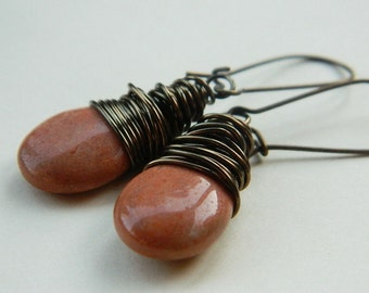 Jade Earrings - Vintage Look - Drop Beads, Rustic, Brown, Cocoa, Camel, Caramel, Antiqued, Bronze, Brass, Old look, Love