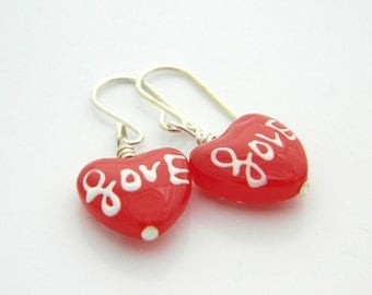 Love Earrings - Wrapped, Red, Heart, Strawberry, Watermelon, White, Bright, Gift for Her, Valentine's Day, Hearts, Adorable