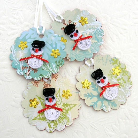 Tags Paper Quilled SNOWMAN Handmade Quilling Christmas Gift