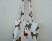 Retro Dog Print Handmade Tote Bag - Made to Order