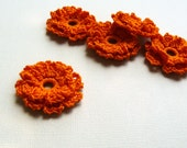 5 Crochet Appliques -- Marigold Flowers, in Pumpkin Orange
