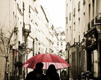 Best Seller, Paris Photography, Paris in the rain Romance, Love in Paris, Red Umbrella in Paris,  French couple in the Marais