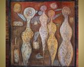 Original Abstract Modern Textured Large Metallic Gold Figures 36x36 Painting Wall Decor CEREMONY by Luiza Vizoli