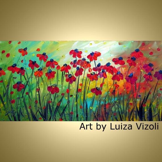Original Modern Contemporary Floral Oil Painting RED WILD FLOWERS by Luiza Vizoli