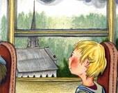 Little Traveler Illustration Print 8x10