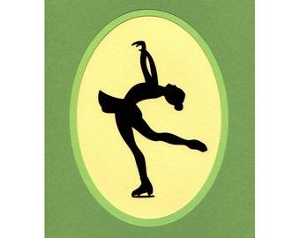 Figure Skater Paper Cut Silhouette 8X10 green yellow unframed