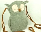 Owl Felted Wool Purse Recycled Sweater Tote in Light Grey Adjustable Leather Strap Linen Lining Eco Friendly