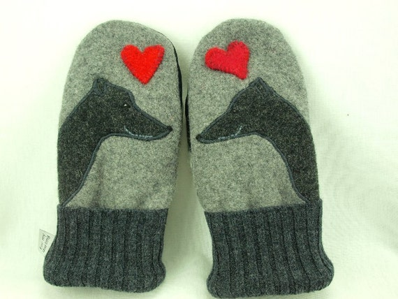 Mittens Felted Wool Grey Hound Mittens Eco Friendly Mittens Grey and Red  Fleece Lining Suede Palm Eco Friendly