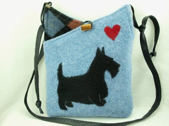 Scottie Recycled Wool Purse Wool Bag Shoulder Bag  Light Blue and  Black  Applique Adjustable Leather Strap Eco Friendly
