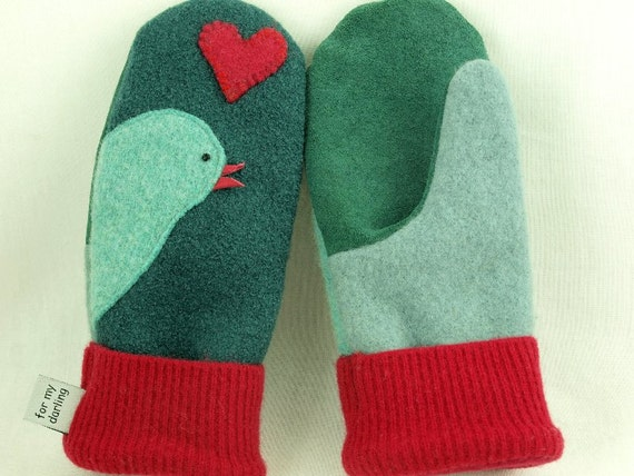 Eco Friendly Mittens Wool Sweater Bird Mittens Felted Wool Green, Turquoise and Red Applique Fleece Lining Suede Palm Eco Friendly Size S