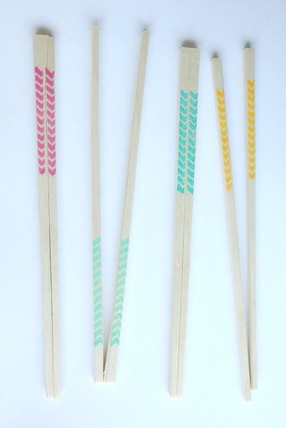 20 Wooden Chopsticks - Chevron Multi-color - Chevron In Bright Colors