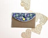 Floral Women's Wallet - Credit Card Wallet -Tan Khaki Purple Flowers